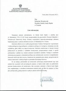 list referencyjny straż pożarna